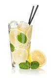 杯柠檬水用柠檬和薄菏 库存图片