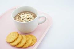 杯椰树,燕麦用薄脆饼干 库存图片