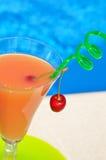 杯汁液和一棵樱桃在一块绿色板材 库存照片