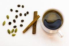 杯浓咖啡用豆蔻果实和桂香 免版税库存照片