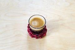 杯浓泡沫的无奶咖啡 库存图片