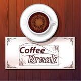 杯热奶咖啡,咖啡休息 免版税库存图片