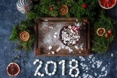 杯热巧克力或可可粉用蛋白软糖、干桔子、糖果和桂香、圣诞节或者新年装饰 免版税库存图片