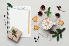 杯热的可可粉或巧克力用蛋白软糖、曲奇饼和笔记本有从上面要做名单的圣诞节的在白色桌上 免版税库存图片
