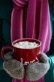 杯热的可可粉用蛋白软糖在妇女的手上 免版税图库摄影