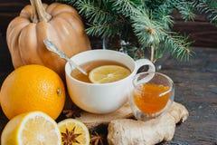 杯热的柠檬茶用橙色南瓜和姜在木背景阻塞 健康饮料寒冷 冬天饮料 免版税图库摄影