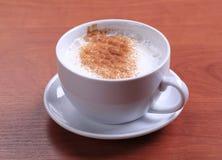 杯热的牛奶用肉豆蔻 图库摄影