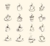 杯热的饮料、咖啡,茶等,大集合 库存例证