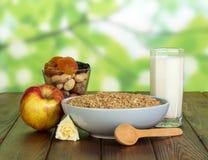 杯牛奶、燕麦粥、坚果和干果子在抽象绿色背景 图库摄影