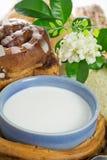 杯牛奶和面包 免版税库存图片