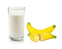 杯牛奶和香蕉 图库摄影