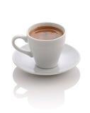 杯用在白色的咖啡浓咖啡 库存图片