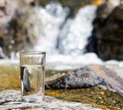 杯由瀑布的水 库存图片