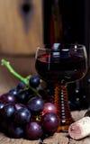杯红葡萄酒和瓶 库存图片