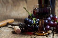 杯红葡萄酒和瓶 免版税库存照片