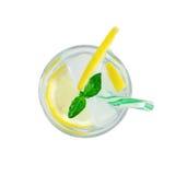 杯苏打饮料用柠檬和薄菏 库存照片