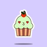 杯蛋糕甜kawaii字符 免版税库存图片