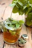 杯蜜蜂花茶 免版税库存照片