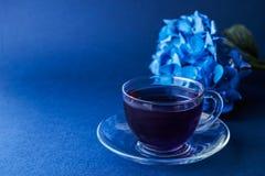 杯蝴蝶豌豆茶 免版税图库摄影