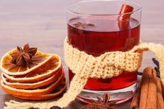 杯被仔细考虑的酒包裹了围巾用新鲜的芬芳香料 免版税图库摄影