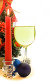杯香槟在圣诞节和新年 库存照片