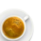 杯鲜美咖啡,在白色,特写镜头 图库摄影