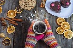 杯黑热的咖啡在她的手上,佩带的五颜六色的冬天gl 免版税图库摄影