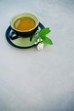 杯绿色茉莉花茶 库存照片