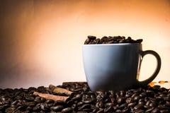 杯cofee用在棕色颜色的桂香 免版税库存照片