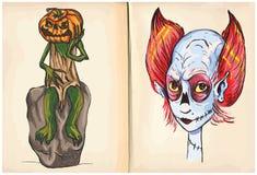 杰克和妖怪坚硬的手图画,传染媒介 库存例证