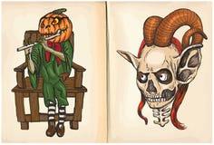 杰克和妖怪坚硬的手图画,传染媒介 免版税库存照片
