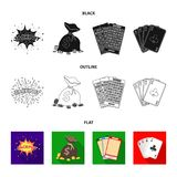杰克汗水,与金钱的一个袋子赢取了,演奏的宾果游戏,纸牌卡片 赌博娱乐场和赌博的集合汇集象  库存例证