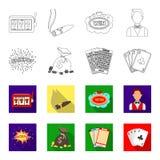 杰克汗水,与金钱的一个袋子赢取了,演奏的宾果游戏,纸牌卡片 赌博娱乐场和赌博的集合汇集象  向量例证