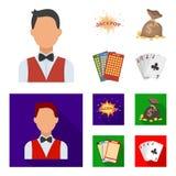 杰克汗水,与金钱的一个袋子赢取了,演奏的宾果游戏,纸牌卡片 赌博娱乐场和赌博的集合汇集象  免版税图库摄影