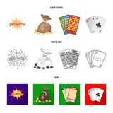 杰克汗水,与金钱的一个袋子赢取了,演奏的宾果游戏,纸牌卡片 赌博娱乐场和赌博的集合汇集象  免版税库存照片