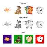 杰克汗水,与金钱的一个袋子赢取了,演奏的宾果游戏,纸牌卡片 赌博娱乐场和赌博的集合汇集象  皇族释放例证