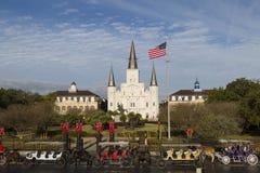 杰克逊广场和圣路易斯大教堂, 免版税图库摄影