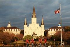 杰克逊广场和圣路易斯大教堂 免版税图库摄影
