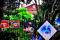 杰克逊广场艺术在新奥尔良, LA 免版税库存照片