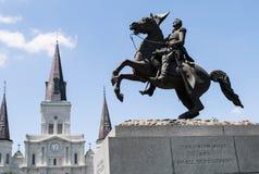 杰克逊广场,新的奥尔良安德鲁杰克逊雕象,圣路易斯大教堂 免版税库存图片