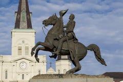 杰克逊雕象和圣路易斯大教堂 图库摄影