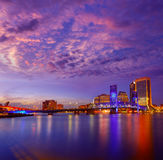 杰克逊维尔地平线日落河在佛罗里达 免版税库存图片