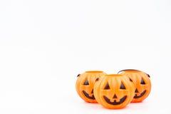 杰克o& x27; 灯笼在白色背景的pumpkinhead塑料使用为 库存图片