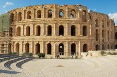 杰姆圆形剧场的外部在杰姆,突尼斯 库存图片