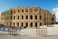 杰姆圆形剧场的外部在杰姆,突尼斯 免版税图库摄影