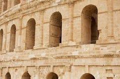 杰姆圆形剧场的外部细节在杰姆,突尼斯 库存图片