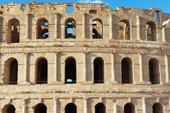 杰姆圆形剧场的外部细节在杰姆,突尼斯 免版税库存照片