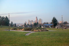 从杰斐逊公园的西雅图地平线 库存照片