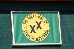 杰斐逊,一个提出的第51个状态状态国玺的旗子  库存图片