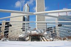杰・普利兹克露天音乐厅在千禧公园的冬天 库存图片